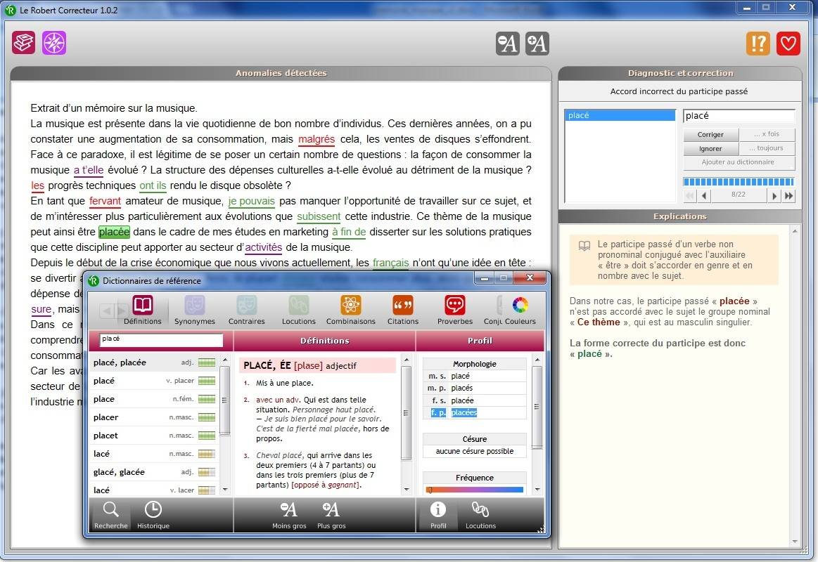 Interface de correction et dictionnaire